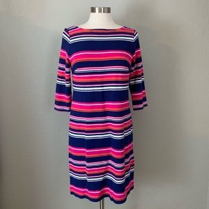 Talbots Striped Sheath Dress, 3/4 Sleeves, Size 6